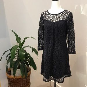 MONTEAU navy dress with lace overlay